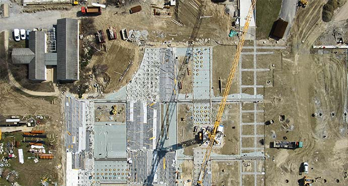overhead view of work site